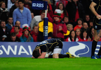 CARDIFF, WALES - FEBRUARY 12:  Scotland player Stuart Hogg looks dejectedly after the try is not given after after a knock during the RBS Six Nations game between Wales and Scotland at the  Millennium Stadium on February 12, 2012 in Cardiff, Wales.  (Phot