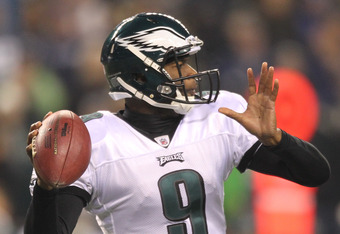 SEATTLE - DECEMBER 01:  Quarterback Vince Young #9 of the Philadelphia Eagles passes against the Seattle Seahawks at CenturyLink Field on December 1, 2011 in Seattle, Washington. (Photo by Otto Greule Jr/Getty Images)