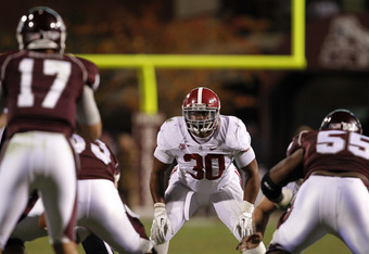 STARKVILLE, MS - NOVEMBER 12:  Linebacker Dont'a Hightower #30 of the Alabama Crimson Tide lines up against the Mississippi State Bulldogs on November 12, 2011 at Davis Wade Stadium in Starkville, Mississippi. Alabama won 24-7. (Photo by Butch Dill/Getty