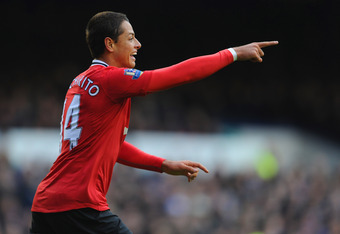 LIVERPOOL, ENGLAND - OCTOBER 29:  Javier Hernandez of Manchester United celebrates scoring the opening goal during the Barclays Premier League match between Everton and Manchester United at Goodison Park on October 29, 2011 in Liverpool, England.  (Photo