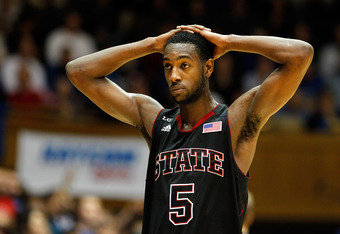 DURHAM, NC - FEBRUARY 16:  C.J. Leslie #5 of the North Carolina State Wolfpack reacts to a foul call against the Duke Blue Devils during their game at Cameron Indoor Stadium on February 16, 2012 in Durham, North Carolina.  (Photo by Streeter Lecka/Getty I