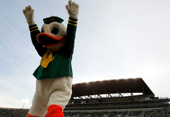 EUGENE, OR - NOVEMBER 26:  Puddles, the mascot of the Oregon Ducks celebrates against the Oregon State Beavers during the 115th Civil War on November 26, 2011 at the Autzen Stadium in Eugene, Oregon.  (Photo by Jonathan Ferrey/Getty Images)