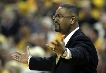 COLUMBIA, MO - FEBRUARY 21:  Head coach Frank Haith of the Missouri Tigers reacts from the bench during the game against the Kansas State Wildcats on February 21, 2012 at Mizzou Arena in Columbia, Missouri.  (Photo by Jamie Squire/Getty Images)