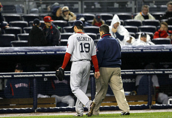 NEW YORK - MAY 18:  Josh Beckett #19 of the Boston Red Sox leaves the game with an injury in the sixth inning against the New York Yankees on May 18, 2010 at Yankee Stadium in the Bronx borough of New York City.  (Photo by Chris Trotman/Getty Images)
