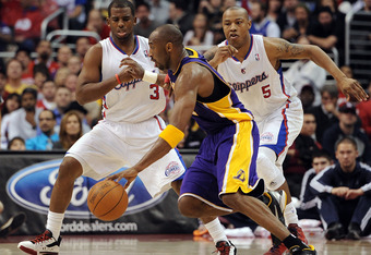 Kobe's 42 points wasn't quite enough for the combonation of Clipper scorers.