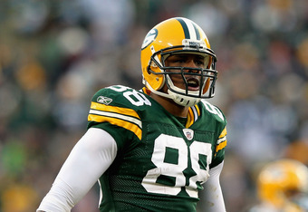 GREEN BAY, WI - JANUARY 15:  Jermichael Finley #88 of the Green Bay Packers reacts against the New York Giants during their NFC Divisional playoff game at Lambeau Field on January 15, 2012 in Green Bay, Wisconsin.  (Photo by Jamie Squire/Getty Images)