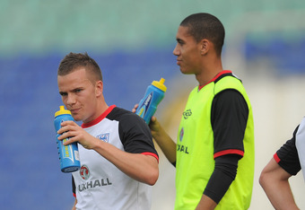 SOFIA, BULGARIA - SEPTEMBER 01: Chris Smalling and Tom Cleverley look on during the England training session ahead of their UEFA EURO 2012 Group G qualifier against Bulgaria at the Vasil Levski National Stadium on September 1, 2011 in Sofia, Bulgaria.  (P