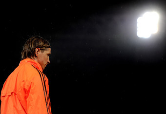 NAPLES, ITALY - FEBRUARY 20:  Striker Fernando Torres looks on during the Chelsea training session ahead of the UEFA Champions League round of sixteen, first leg match between Napoli and Chelsea FC at Stadio San Paolo on February 20, 2012 in Naples, Italy