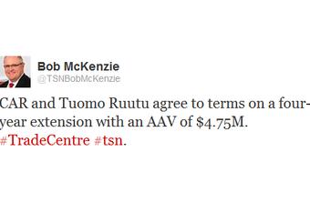 TSN's Bob McKenzie first broke the news just after 3 PM ET on Wednesday.