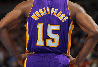 DENVER, CO - FEBRUARY 03:  Detail of the back of the jersey of Metta World Peace #15 of the Los Angeles Lakers as the Lakers defeated the Denver Broncos 93-89 at the Pepsi Center on February 3, 2012 in Denver, Colorado. NOTE TO USER: User expressly acknow
