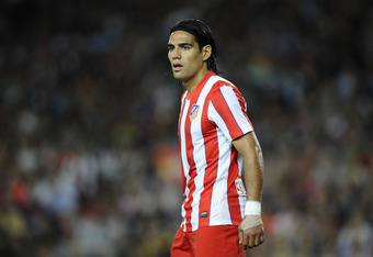 BARCELONA, SPAIN - SEPTEMBER 24:  Falcao Garcia of Club Atletico de Madrid de Madrid looks on during the La Liga match between FC Barcelona and Club Atletico de Madrid at Camp Nou on September 24, 2011 in Barcelona, Spain. barcelona won 5-0 and Messi scor