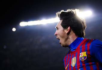 BARCELONA, SPAIN - FEBRUARY 19:  Lionel Messi of FC Barcelona celebrates after scoring his team's second goal during the La Liga match between FC Barcelona and Valencia CF at Camp Nou stadium on February 19, 2012 in Barcelona, Spain. FC Barcelona won 5-1.
