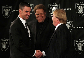 (L-R) Head Coach Dennis Allen, GM Reggie McKenzie, and Mark Davis usher in the new-look Raiders