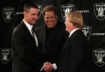 (L-R) Head Coach Dennis Allen, GM Reggie McKenzie, and Mark Davis usher in the new-look Raiders