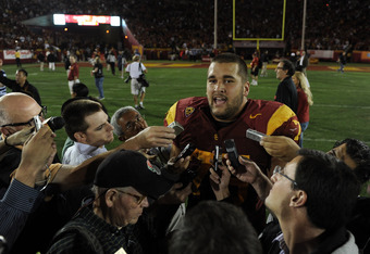LOS ANGELES, CA - SEPTEMBER 10:  Matt Kalil #75 of the USC Trojans speaks to reporters after his blocked field goal in the final seconds of the game preserved a 17-14 win over the Utah Utes at Los Angeles Memorial Coliseum on September 10, 2011 in Los Ang