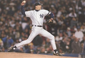 Brian Boehringer pitches during Game 1 of the 1996 World Series.