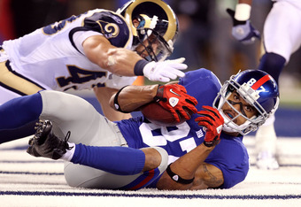 Before Cruz'z emergence, The Giants had high hopes for Hixon (87).  While making this catch, he tore his right ACL for the 2nd time in 15 months. If he can find a way to come back strong, he could give the Giants a much needed safety net.