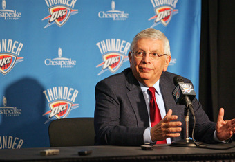 OKLAHOMA CITY, OK -DECEMBER 25:  NBA Commissioner David Stern speaks to the media before the Orlando Magic versus the Oklahoma City Thunder season opening game December 25, 2011 at the Chesapeake Energy Arena in Oklahoma City, Oklahoma.  Oklahoma City def