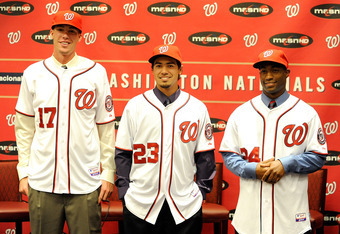 WASHINGTON, DC - AUGUST 23:  Washington Nationals 2011 Draft picks Alex Meyer #17, Anthony Rendon #23 and Brian Goodwin #24 are introduced to the media at Nationals Park on August 23, 2011 in Washington, DC.  (Photo by Greg Fiume/Getty Images)