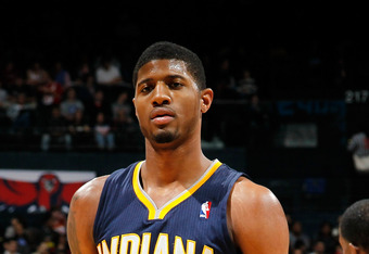 ATLANTA, GA - FEBRUARY 08:  Paul George #24 of the Indiana Pacers against the Atlanta Hawks at Philips Arena on February 8, 2012 in Atlanta, Georgia.  NOTE TO USER: User expressly acknowledges and agrees that, by downloading and or using this photograph,