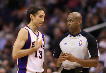 PHOENIX, AZ - FEBRUARY 15:  Steve Nash #13 of the Phoenix Suns reacts to official Tre Maddox during the NBA game against the Atlanta Hawks at US Airways Center on February 15, 2012 in Phoenix, Arizona.  NOTE TO USER: User expressly acknowledges and agrees