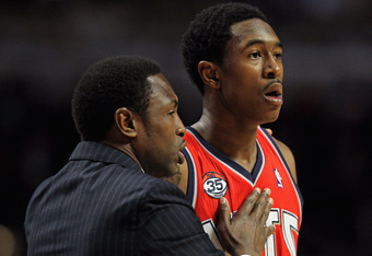 CHICAGO, IL - FEBRUARY 18: Head coach Avery Johnson of the New Jersey Nets gives instructions to MarShon Brooks #9 during a game against the Chicago Bulls at the United Center on February 18, 2012 in Chicago, Illinois. NOTE TO USER: User expressly acknowl
