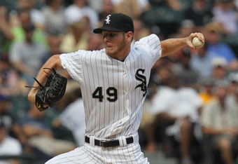 CHICAGO, IL - JULY 27:  Chris Sale #49 of the Chicago White Sox pitches two and two-thirds scoreless innings against the Detroit Tigers at U.S. Cellular Field on July 27, 2011 in Chicago, Illinois. The White Sox defeated the Tigers 2-1.  (Photo by Jonatha