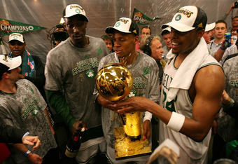 BOSTON - JUNE 17:  Kevin Garnett #5, Ray Allen #20 and Paul Pierce #34 of the Boston Celtics celebrate in the locker room after defeating the Los Angeles Lakers in Game Six of the 2008 NBA Finals on June 17, 2008 at TD Banknorth Garden in Boston, Massachu