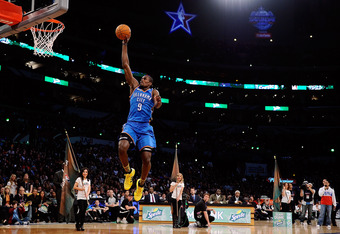 LOS ANGELES, CA - FEBRUARY 19:  Serge Ibaka #9 of the Oklahoma City Thunder dunks the ball from the free throw line in the Sprite Slam Dunk Contest apart of NBA All-Star Saturday Night at Staples Center on February 19, 2011 in Los Angeles, California. NOT
