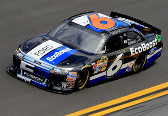DAYTONA BEACH, FL - FEBRUARY 18:  Ricky Stenhouse Jr., driver of the #6 Ford EcoBoost Ford, practices for the NASCAR Sprint Cup Series Daytona 500 at Daytona International Speedway on February 18, 2012 in Daytona Beach, Florida.  (Photo by Matthew Stockma