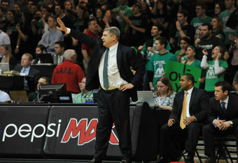 Jimmy Patsos has rebuilt Loyola to its first 20-win season in over 60 years. (Photo by Larry French)