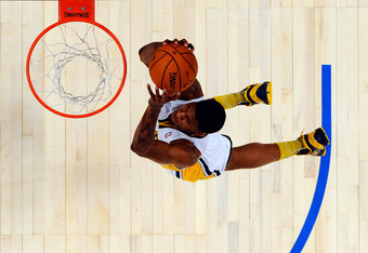 ORLANDO, FL - FEBRUARY 24:  Paul George #24 of the Indiana Pacers and Team Chuck dunks during the BBVA Rising Stars Challenge part of the 2012 NBA All-Star Weekend at Amway Center on February 24, 2012 in Orlando, Florida.  NOTE TO USER: User expressly ack