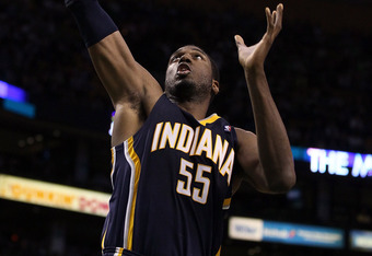 BOSTON, MA - JANUARY 06:  Roy Hibbert #55 of the Indiana Pacers grabs the rebound in the second half against the Boston Celtics on January 6, 2012 at TD Garden in Boston, Massachusetts. The Indiana Pacers defeated the Boston Celtics 87-74. NOTE TO USER: U