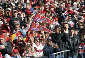 PHILADELPHIA, PA - OCTOBER 31: Fans of the Philadelphia Phillies celebrate during the World Championship Parade October 31, 2008 in Philadelphia, Pennsylvania. The Phillies defeated the Tampa Bay Rays to win their first World Series in 28 years.  (Photo b