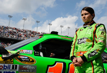DAYTONA BEACH, FL - FEBRUARY 23:  Danica Patrick, driver of the #10 GoDaddy.com Chevrolet, stands on the grid during driver introductions for the NASCAR Sprint Cup Series Gatorade Duel 1 at Daytona International Speedway on February 23, 2012 in Daytona Be