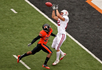 CORVALLIS, OR - NOVEMBER 5: Tight end Coby Fleener #82 of the Stanford Cardinal makes a catch over safety Ryan Murphy #25 of the Oregon State Beavers on November 5, 2011 at Reser Stadium in Corvallis, Oregon.  (Photo by Craig Mitchelldyer/Getty Images)