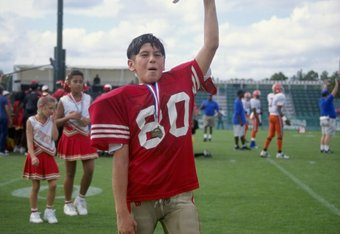 9 Dec 1998:  General view of a player from Redwood City, California celebrates during the Pop Warner Pee Wee Football Super Bowl at Disney Wide World of Sports Complex in Orlando, Florida. Mandatory Credit: Scott Halleran  /Allsport