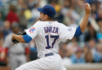 CHICAGO, IL - SEPTEMBER 16: Matt Garza #17 of the Chicago Cubs pitches during the game against the Houston Astros at Wrigley Field on September 16, 2011 in Chicago, Illinois.   (Photo by Scott Boehm/Getty Images)