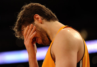 LOS ANGELES, CA - FEBRUARY 20:  Pau Gasol #16 of the Los Angeles Lakers reacts after a foul during the game against the Portland Trail Blazers at Staples Center on February 20, 2012 in Los Angeles, California.  NOTE TO USER: User expressly acknowledges an