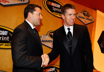 LAS VEGAS, NV - DECEMBER 02:  (L-R) Tony Stewart and Carl Edwards shake hands after the NASCAR Sprint Cup Series Champion's Week Awards Ceremony at Wynn Las Vegas on December 2, 2011 in Las Vegas, Nevada.  (Photo by Todd Warshaw/Getty Images for NASCAR)