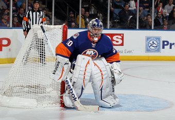 UNIONDALE, NY - FEBRUARY 11:  Evgeni Nabokov #20 of the New York Islanders in action against the Los Angeles Kings  on February 11, 2012 at Nassau Coliseum in Uniondale, New York. The Islanders defeated the Kings 2-1 in overtime.  (Photo by Jim McIsaac/Ge