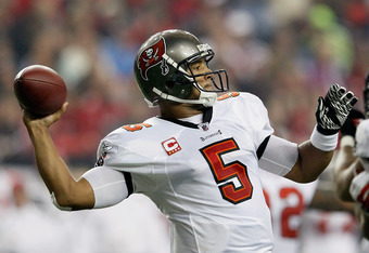 ATLANTA, GA - JANUARY 01:  Josh Freeman #5 of the Tampa Bay Buccaneers against the Atlanta Falcons at Georgia Dome on January 1, 2012 in Atlanta, Georgia.  (Photo by Kevin C. Cox/Getty Images)