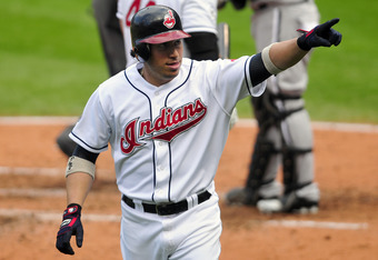 CLEVELAND, OH - SEPTEMBER 20: Asdrubal Cabrera #13 of the Cleveland Indians points to the fans in celebration after he hit a solo home run during the fourth inning against the Chicago White Sox at Progressive Field on September 20, 2011 in Cleveland, Ohio