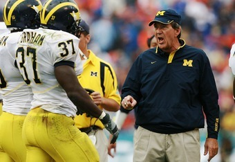 Coach Carr during his final game as head coach of Michigan.