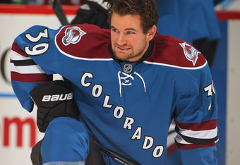 DENVER, CO - DECEMBER 27:  T.J. Galiardi #39 of the Colorado Avalanche warms up prior to facing the Winnipeg Jets at the Pepsi Center on December 27, 2011 in Denver, Colorado. The Jets defeated the Avalanche 4-1.  (Photo by Doug Pensinger/Getty Images)