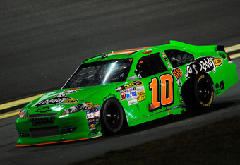 DAYTONA BEACH, FL - FEBRUARY 27:  Danica Patrick, driver of the #10 GoDaddy.com Chevrolet, drives on the apron back to the garage after being involved in an on track incident during the NASCAR Sprint Cup Series Daytona 500 at Daytona International Speedwa