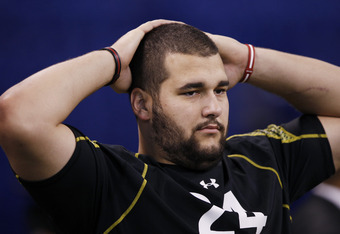 INDIANAPOLIS, IN - FEBRUARY 25: Offensive lineman Matt Kalil of USC looks on during the 2012 NFL Combine at Lucas Oil Stadium on February 25, 2012 in Indianapolis, Indiana. (Photo by Joe Robbins/Getty Images)