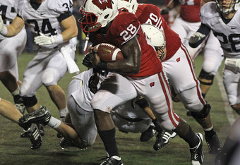 MADISON, WI - NOVEMBER 26: Montee Ball #28 of the Wisconsin Badgers runs for a second half touchdown against the Penn State Nittany Lions at Camp Randall Stadium on November 26, 2011 in Madison, Wisconsin. Wisconsin defeated Penn State 45-7. (Photo by Jon