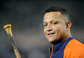 NEW YORK, NY - OCTOBER 06:  Miguel Cabrera #24 of the Detroit Tigers looks on during batting practice against the New York Yankees during Game Five of the American League Championship Series at Yankee Stadium on October 6, 2011 in the Bronx borough of New