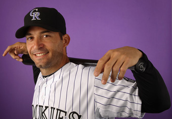 SCOTTSDALE, AZ - FEBRUARY 28:  Marco Scutaro #19 of the Colorado Rockies poses for a portrait during spring training photo day at Salt River Fields at Talking Stick on February 28, 2012 in Scottsdale, Arizona.  (Photo by Christian Petersen/Getty Images)